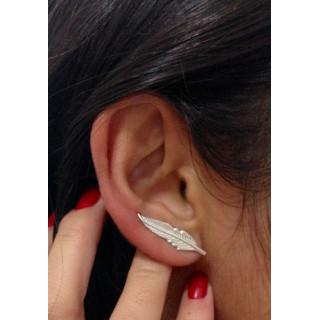 Brinco Pena em prata ear cuff