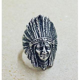 Anel Índio em prata oxidada.