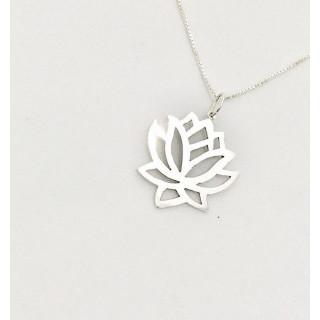 Colar Flor de Lotus no cordão Veneziano em prata 0,45 cm