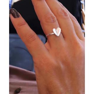 Anel coração em prata.