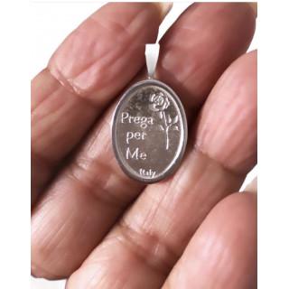 Choker Nossa Senhora de Fátima  em prata na camurça preta.