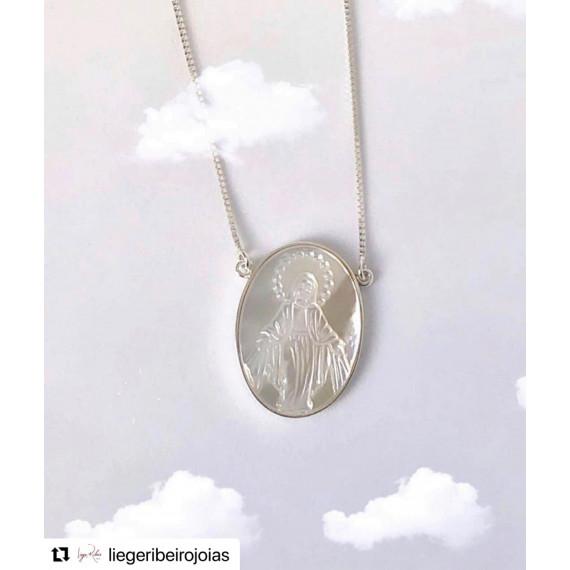 Colar em prata Nossa senhora das Graças na madrepérola com 0,45 cm