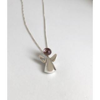 Colar em prata  anjinho com ametista, cordão 0,45 cm