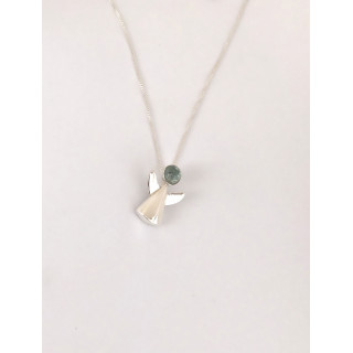 Colar anjinho em prata com água marinha natural no cordão veneziano 0,45 cm