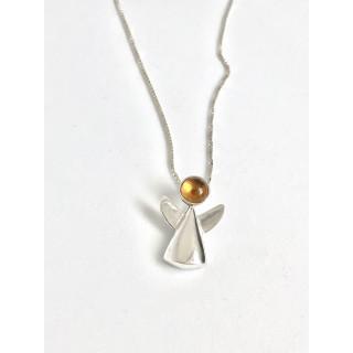 Colar anjinho em prata ( 2,0 cm )  com citrino natural, no cordão veneziano com 0,45 cm